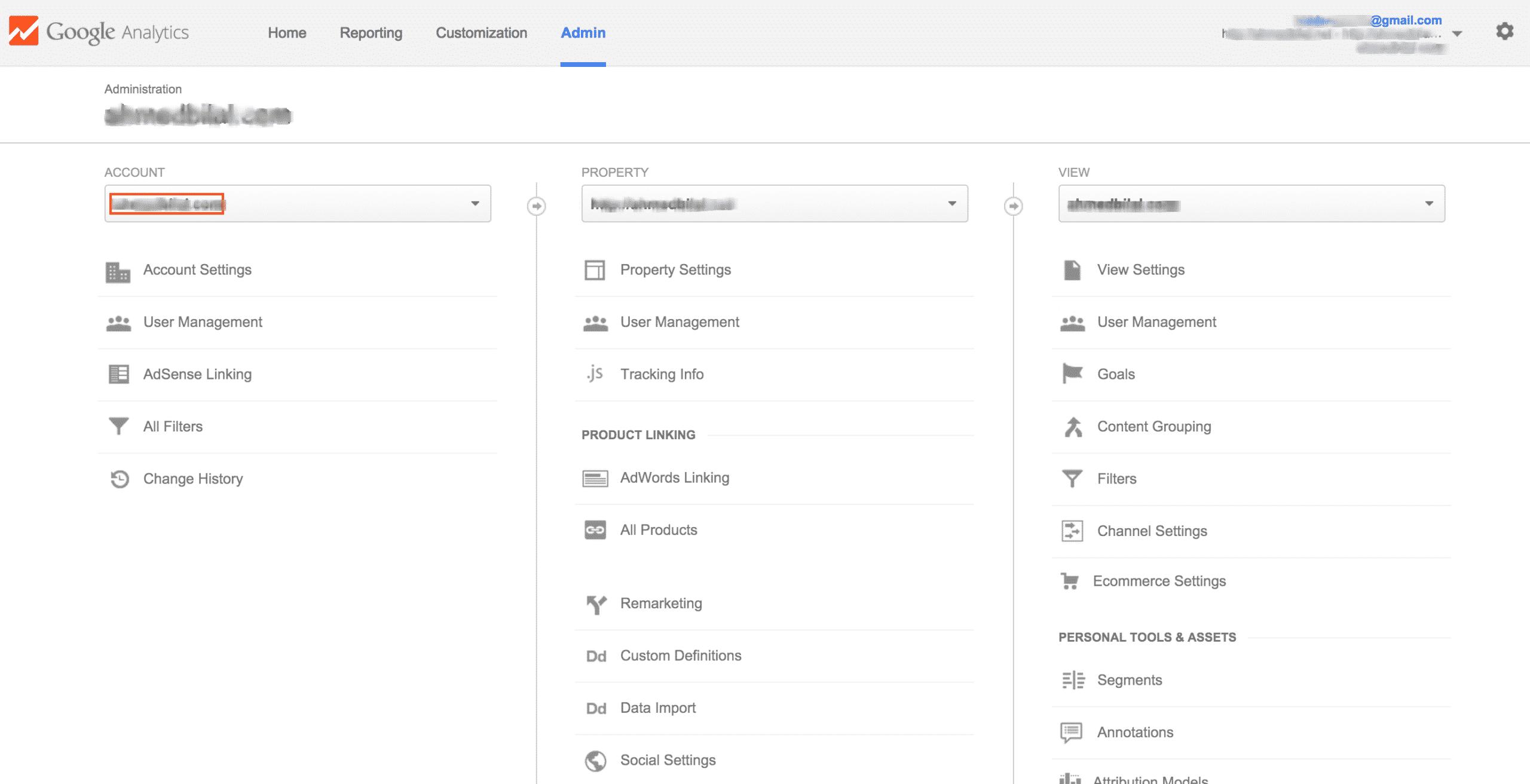 Google Analytics - Admin