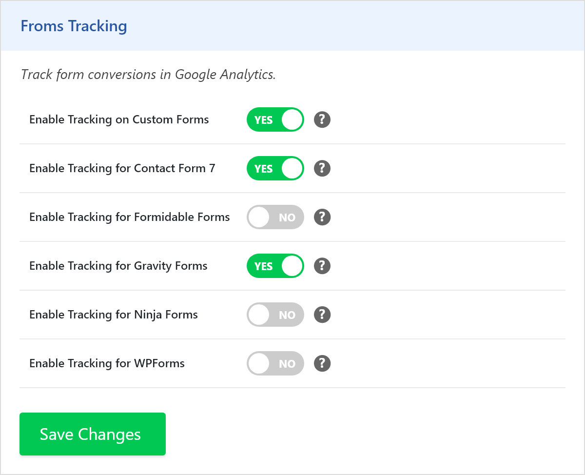 Forms Tracking Settings
