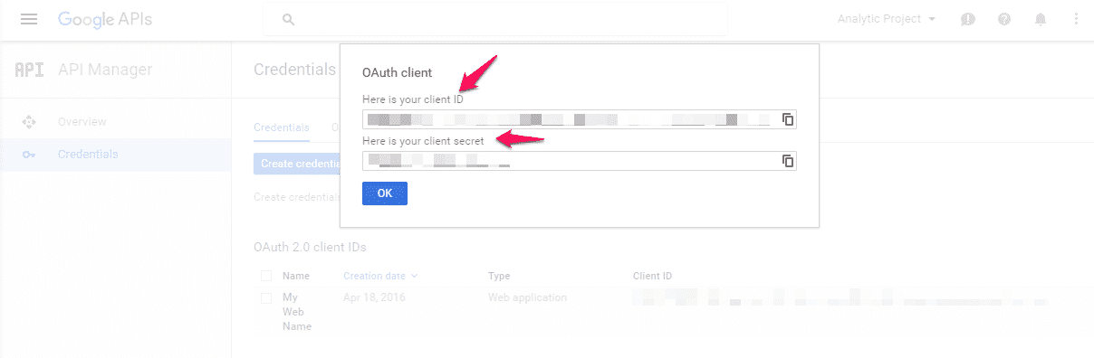 Get your Client ID and Client Secret - Google Developers Console.