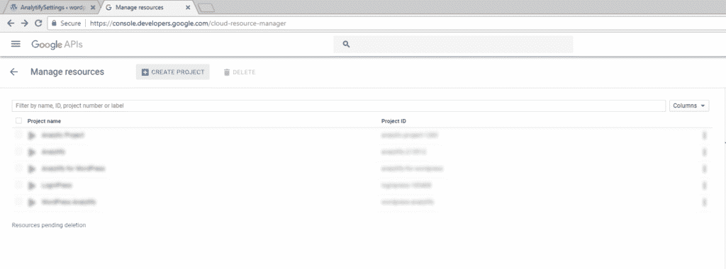 Start - Create Project in Google Developers Console