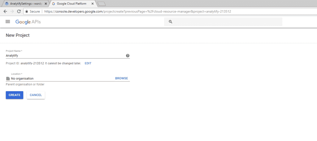Enter Project Name - Google Developers Console