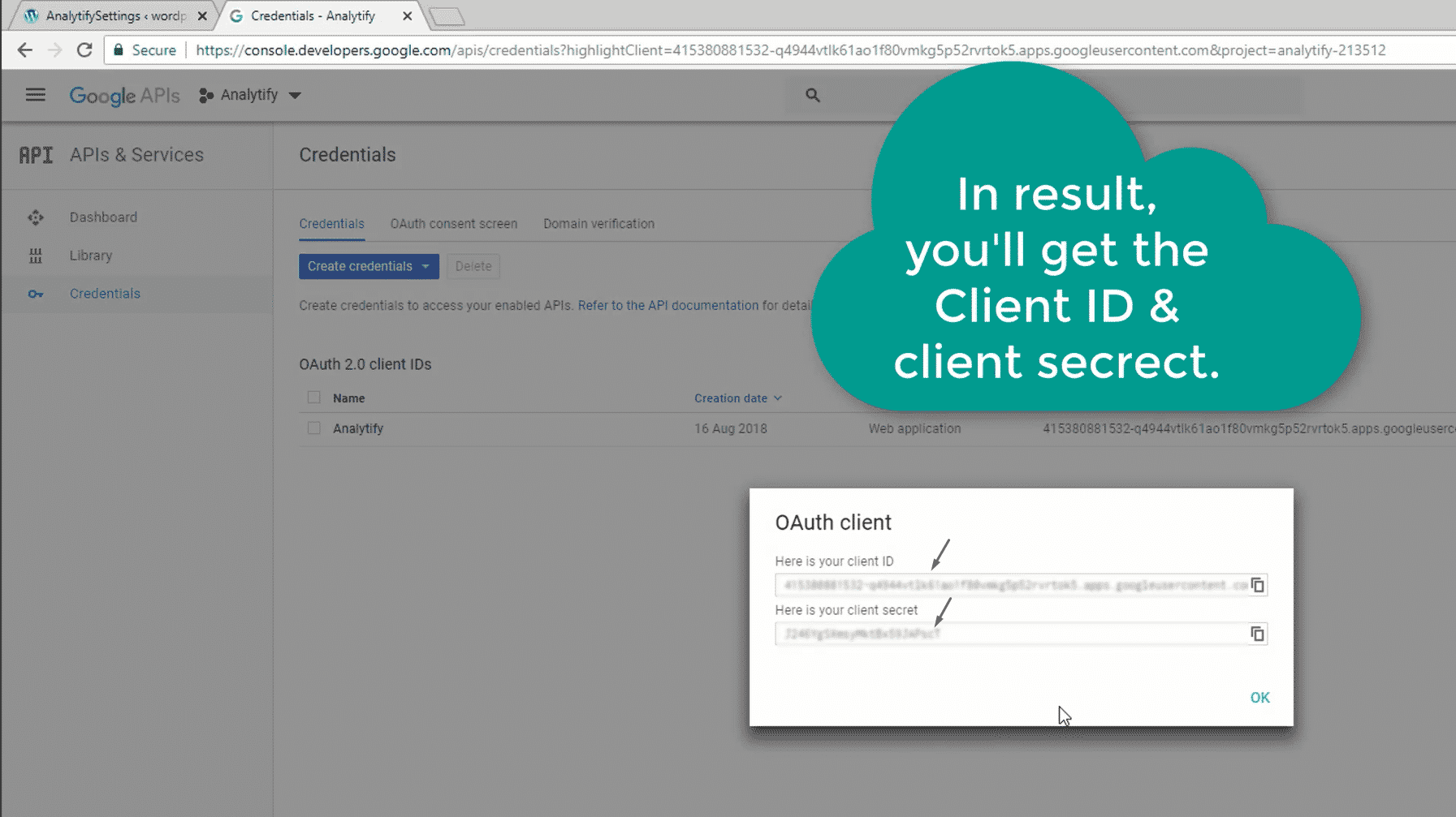 Get Client ID, Client Secret and Developer API Key for Google
