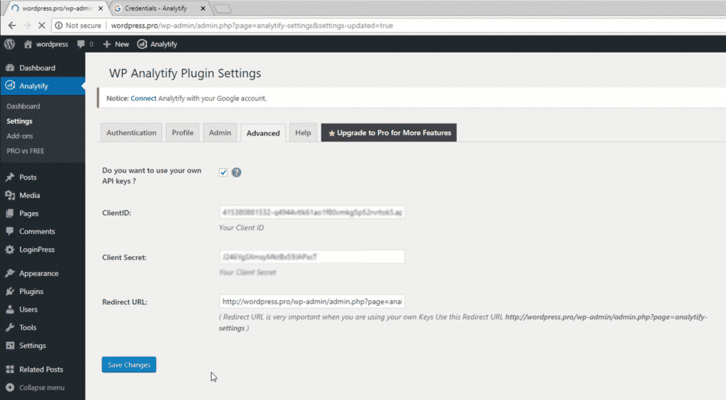 Paste Client ID and Client Secret in plugin settings - Google Developers Console.