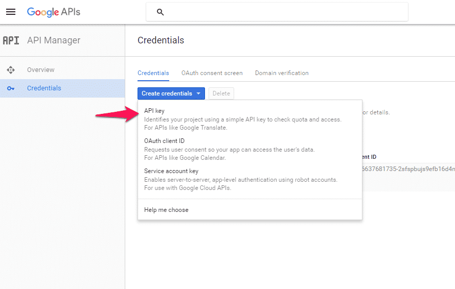 Create Public API Key - Google Developers Console