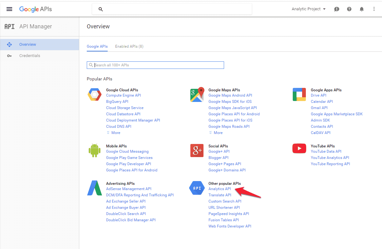 Enable Analytics API in Google Developers Console