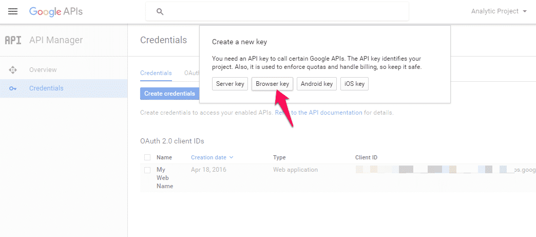 google application id and secret key