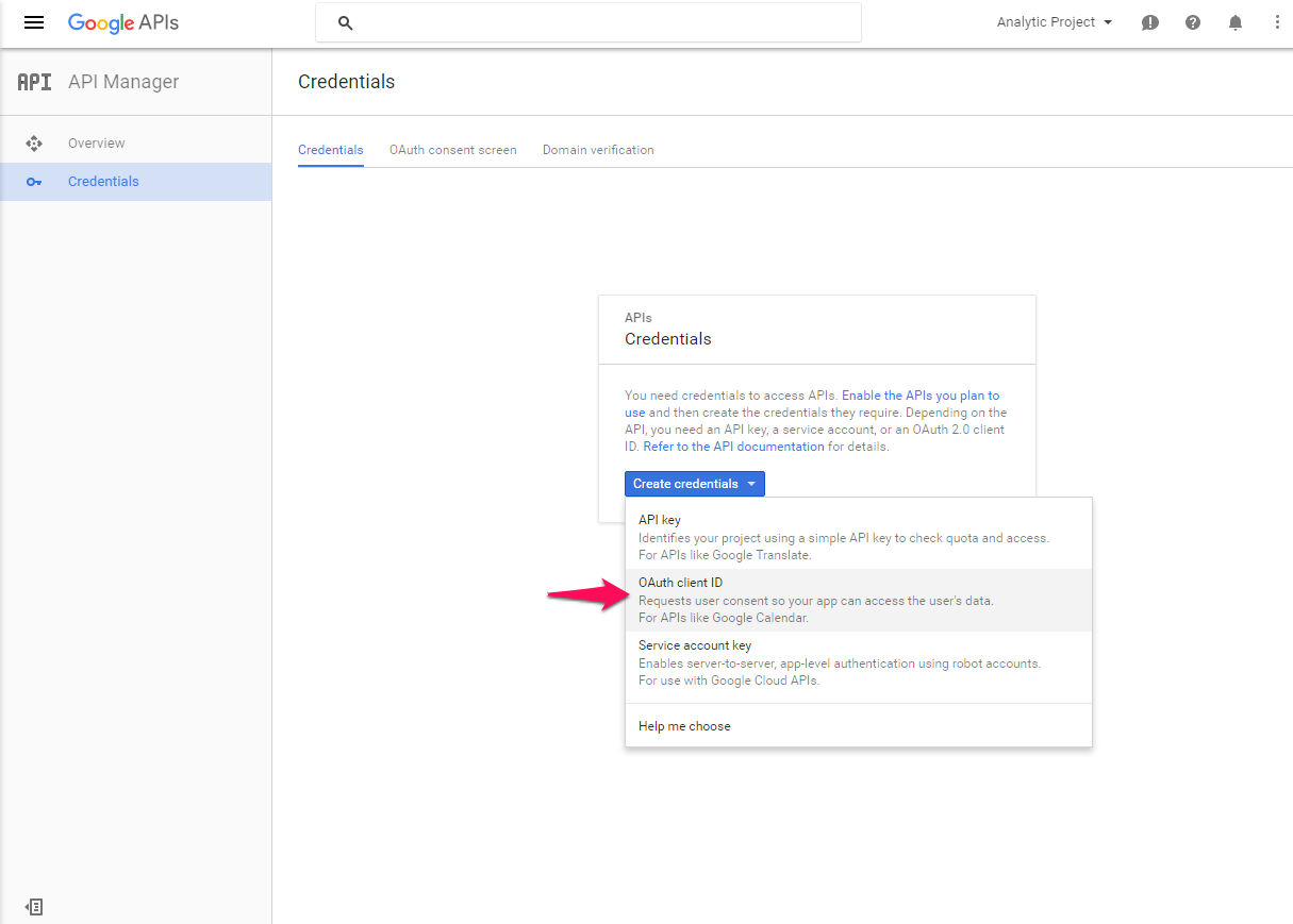 Get OAuth 2.0 Client ID - Google Developers Console