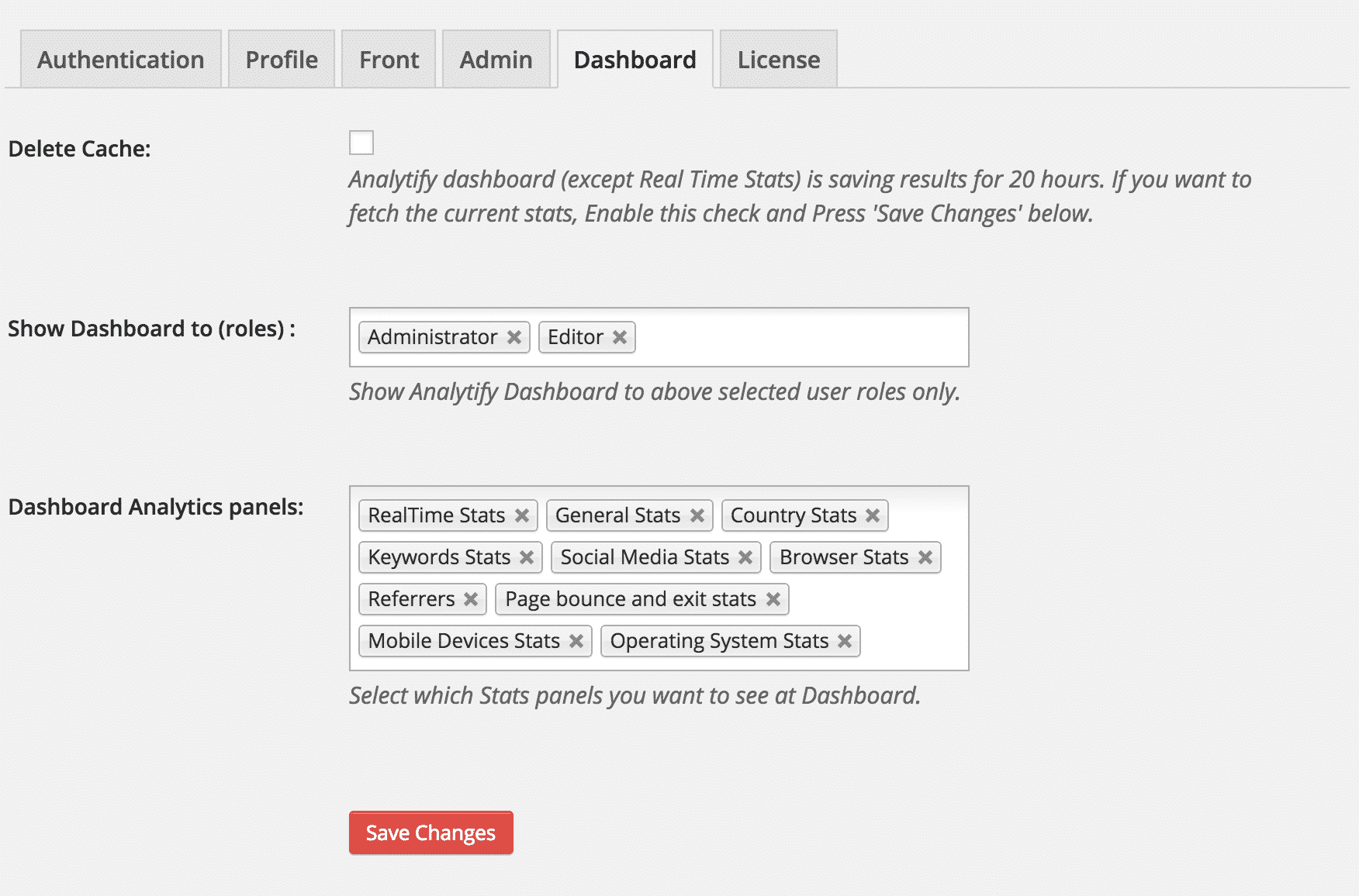 Dashboard Settings Tab