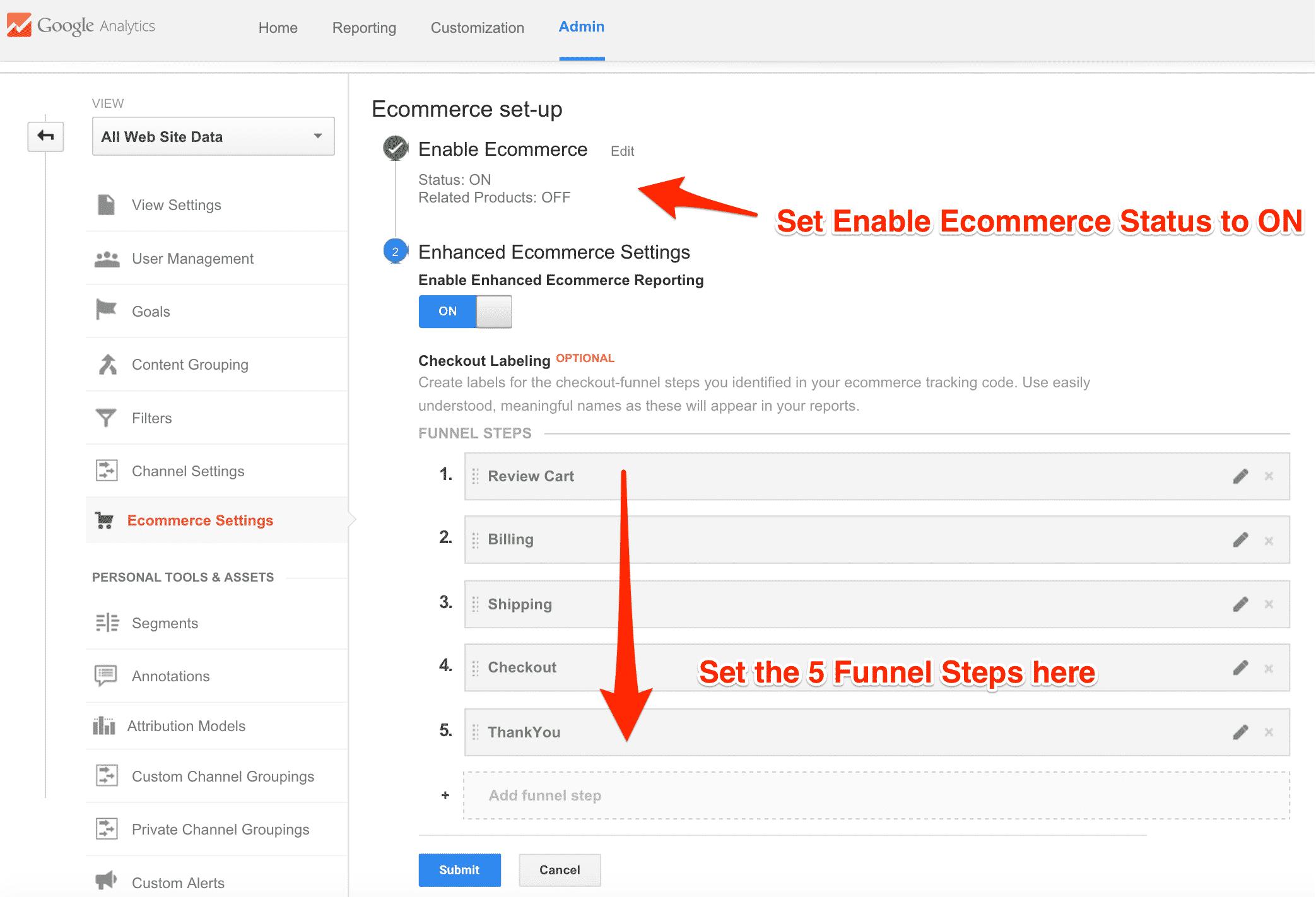 Ecommerce funnel steps and Enable status to ON