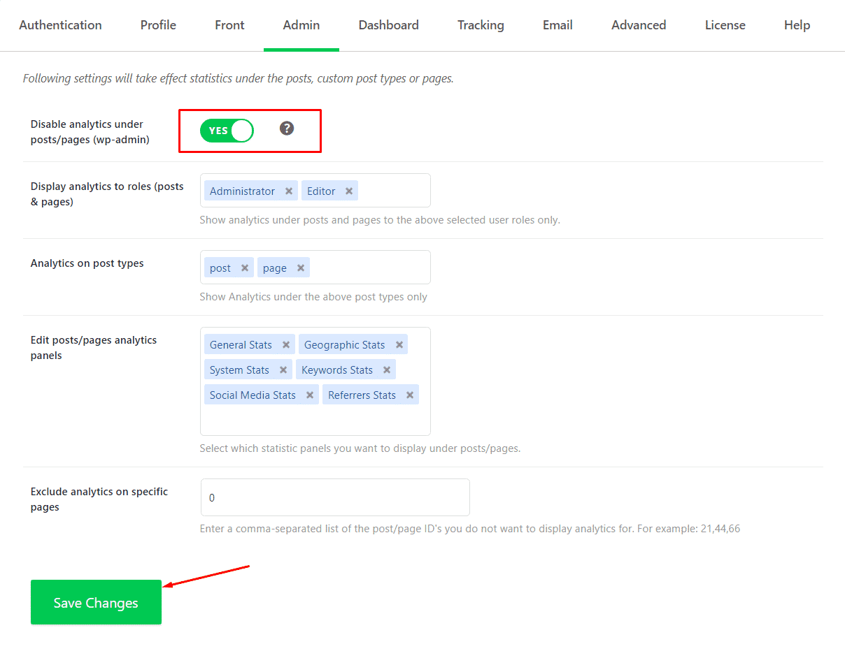 Disable analytics under posts/pages (wp-admin)