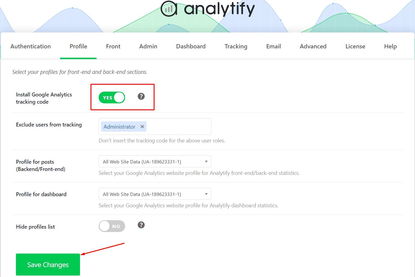 Enable Install Google Analytics tracking code
