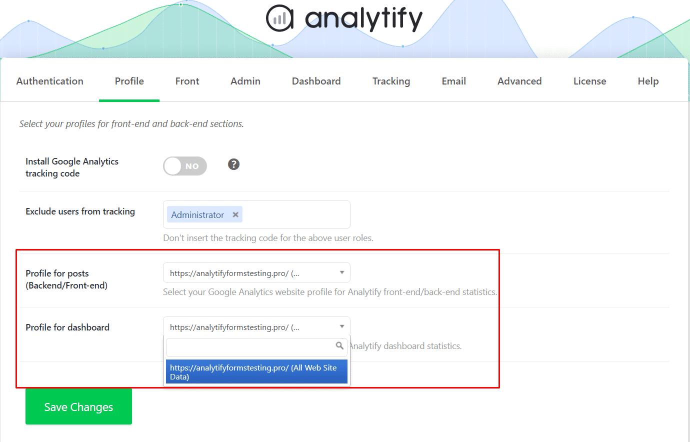 Google Analytics profile list hide