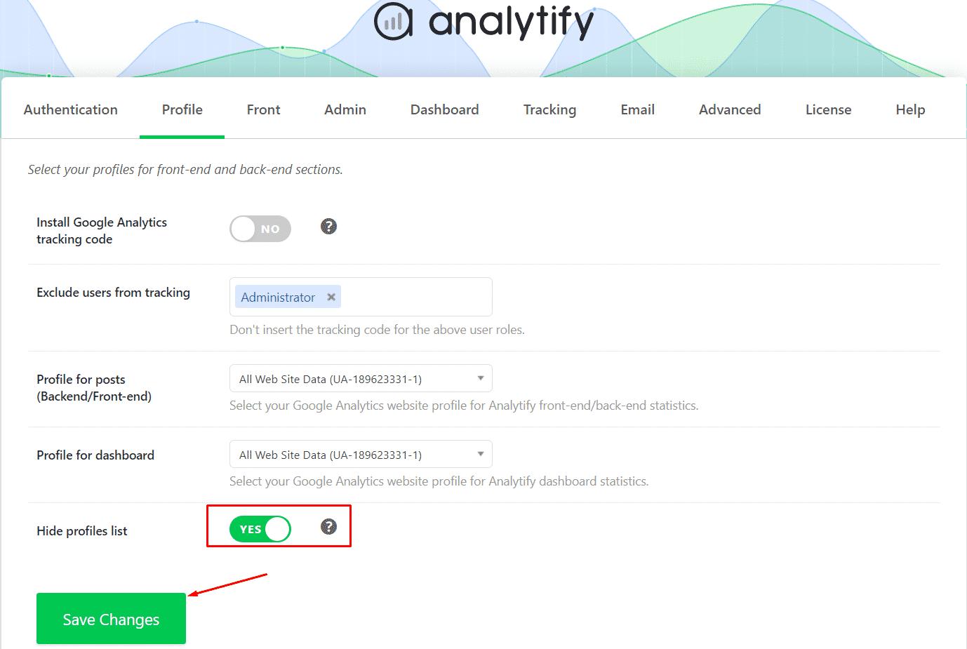 Enable Hide profiles list
