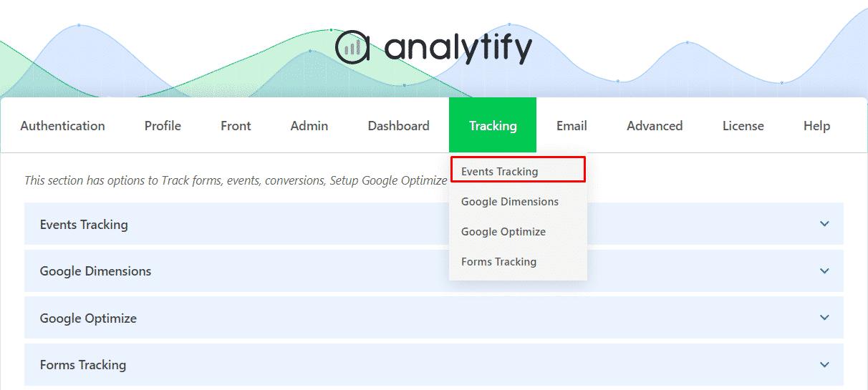 Google Events Tracking Addon Settings