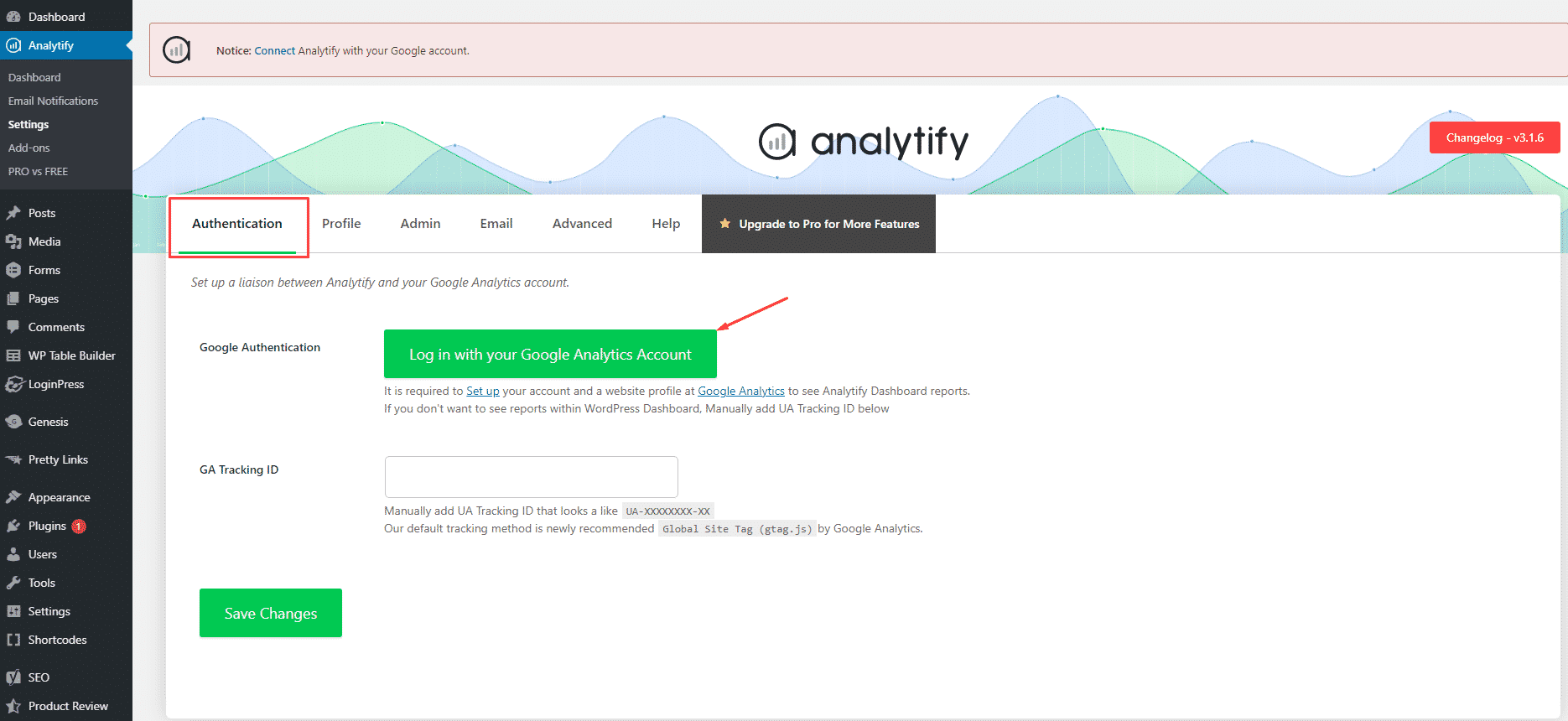 how to integrate google analytics with analytify