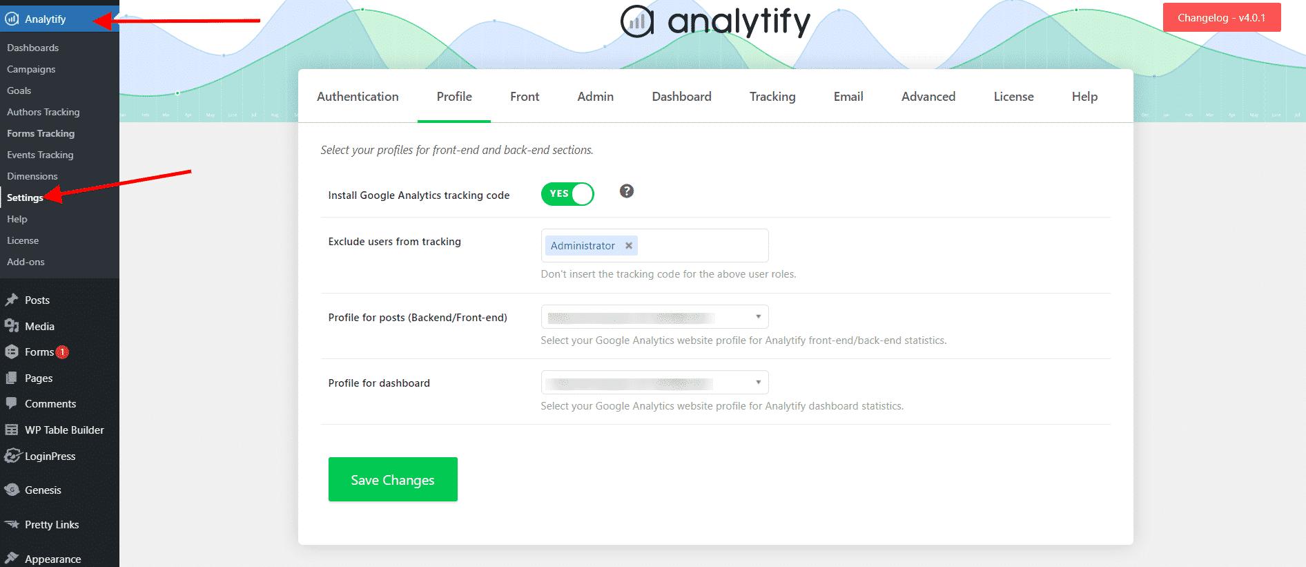 Analytify-Settings-window