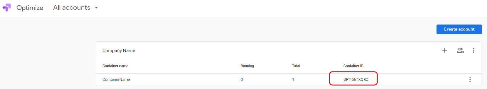Google Optimize Container ID