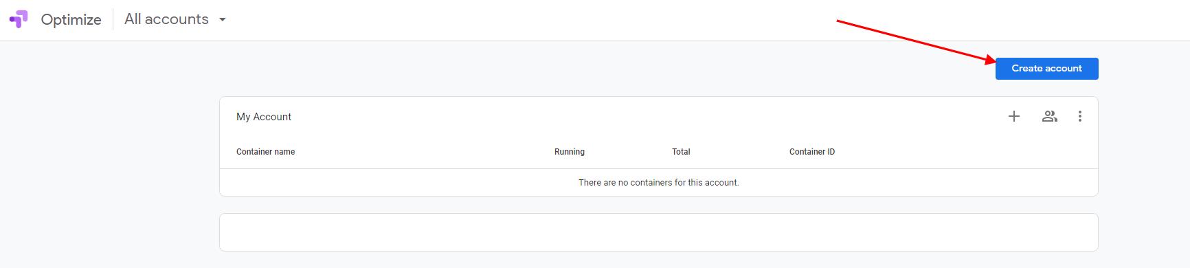 Google Optimize Account creation