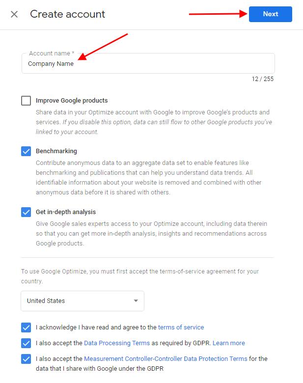 Google Optimize Account Creation Tutorial